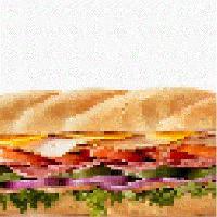 User image: six inch italian bread ham with lettuce tomato and onion and mozzarella cheese
